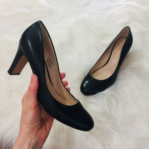 Nine West Black Leather Round Toe High Heels | 7.5